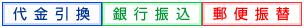 銀行振込・郵便振替・クレジットカード決済・オンラインコンビニ決済・ネットバンク決済・電子マネー決済・代金引換